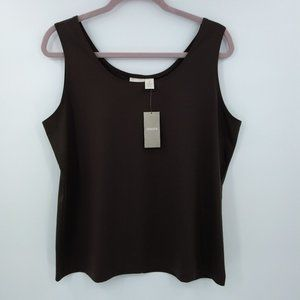 New Chicos Size XL Tank Top Blouse Brown Scoop